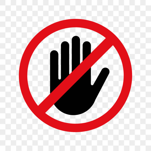 ilustraciones, imágenes clip art, dibujos animados e iconos de stock de icono de aviso de vector de mano para ninguna entrada de detener o no toque el signo - física