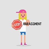 Stop harassment. Conceptual illustration. Young character holding a Stop road sign. Flat editable vector cartoon, clip art