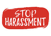 Stop Harassment label. Font with Brush. Equal Rights Badges. Vector illustration icon
