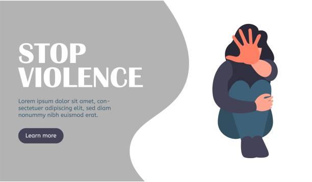 ilustraciones, imágenes clip art, dibujos animados e iconos de stock de detener la página web de aterrizaje de harrasment. detener la violencia - dureza