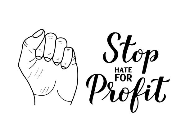 Stop Hate for Profit calligraphy hand lettering isolated on white. Social media campaign against hate, racism, bigotry,  and misinformation. Vector template for typography poster, banner, sticker Stop Hate for Profit calligraphy hand lettering isolated on white. Social media campaign against hate, racism, bigotry,  and misinformation. Vector template for typography poster, banner, sticker. Stop Hate for Profit calligraphy hand lettering isolated on white. Social media campaign against hate, racism, bigotry,  and misinformation. Vector template for typography poster, banner, sticker. facebook boycott stock illustrations