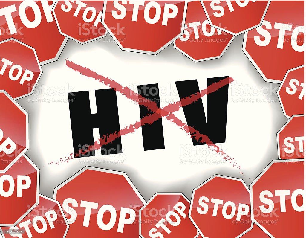 Stop hiv concept vector art illustration