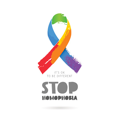 Stop homophobia. Rainbow ribbon