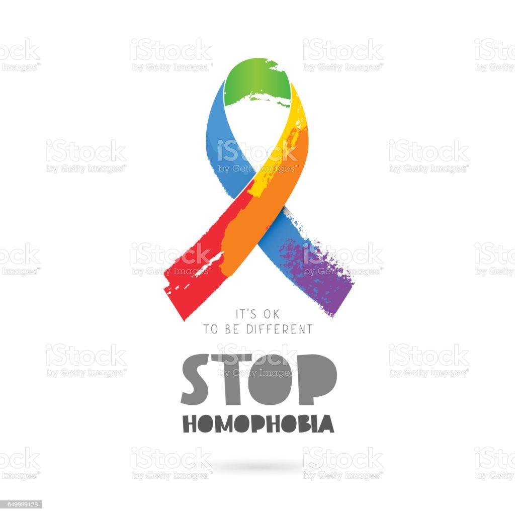 Stop homophobia. Rainbow ribbon vector art illustration