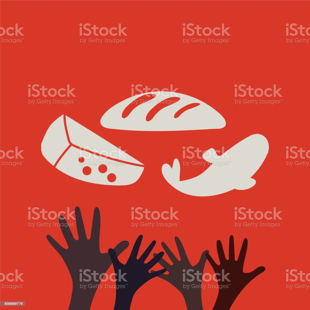 Stop Hunger, Malnutrition or Starvation vector illustration. Great as donation, relief or help icon for fight with famine and poverty in Yemen, Somalia or South Sudan. Hands and food. vector art illustration