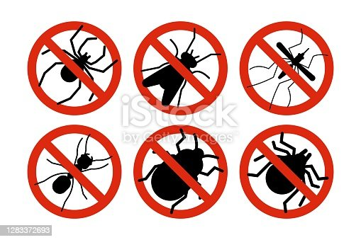 istock Stop insects. Tick, bugs and mosquito silhouettes. Warning prohibited sign, anti insect vector icons 1283372693