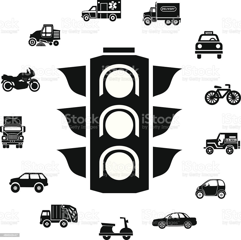 stop light and transportation icons vector art illustration