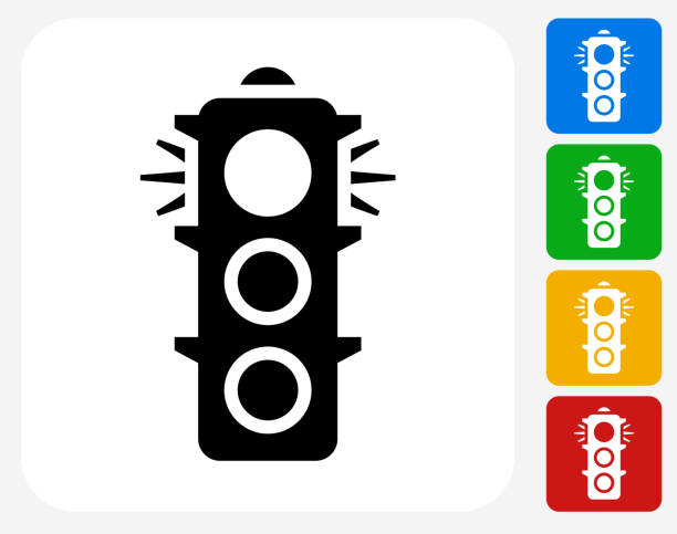 stop light icon flat graphic design - stoplights stock illustrations, clip art, cartoons, & icons