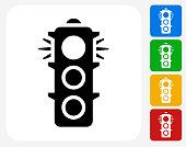 Stop Light Icon Flat Graphic Design