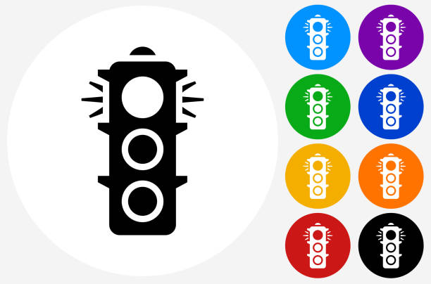 stop light icon on flat color circle buttons - stoplights stock illustrations, clip art, cartoons, & icons