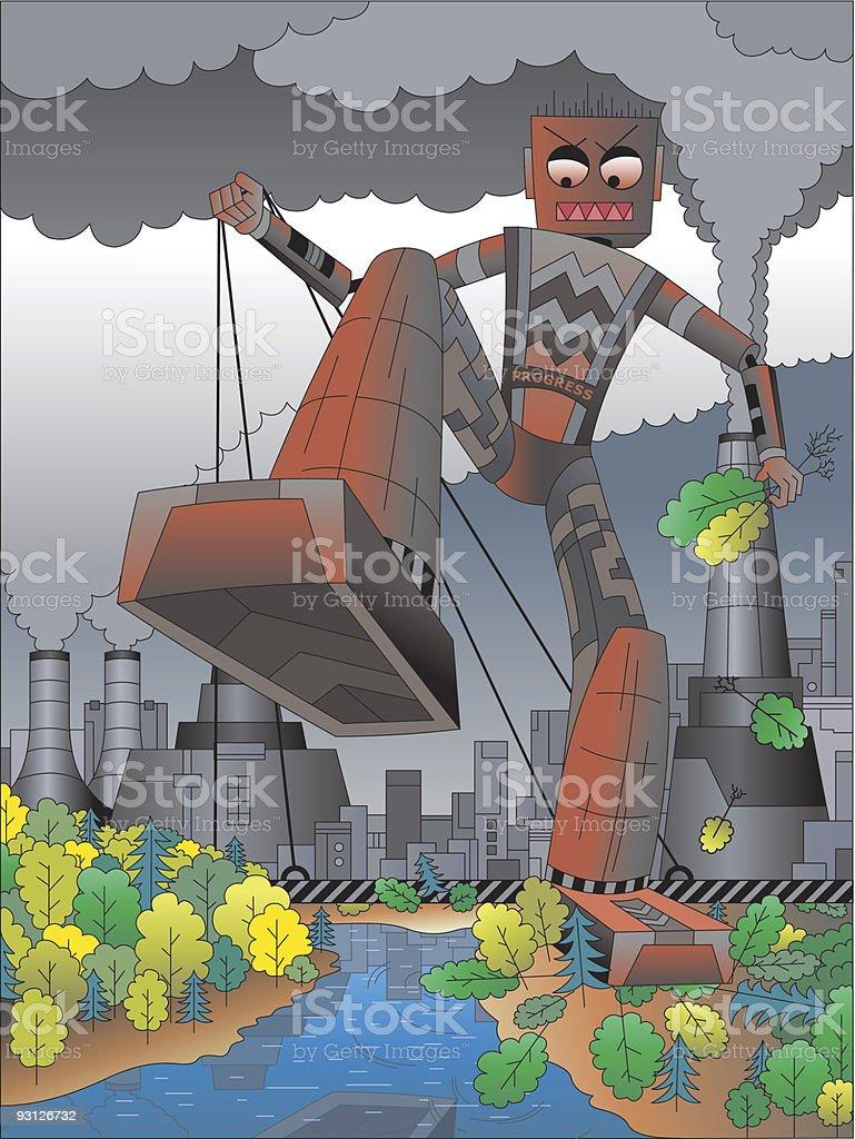Stop mad progress run! royalty-free stock vector art