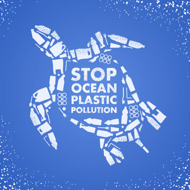 stop ocean plastic pollution. ecological poster. turtle composed of white plastic waste bag, bottle on blue background. - turtle stock illustrations