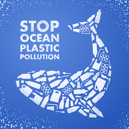 Stop ocean plastic pollution. Ecological poster. Whale composed of white plastic waste bag, bottle on blue background.