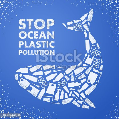 Stop ocean plastic pollution. Ecological poster. Whale composed of white plastic waste bag, bottle on blue background