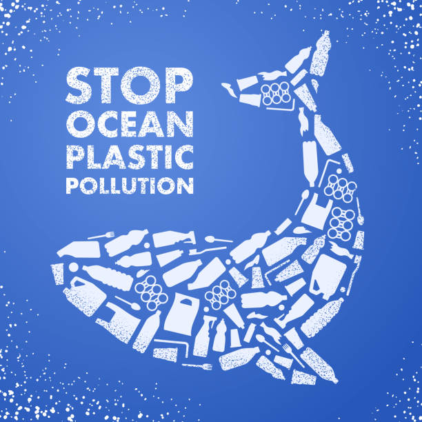 stop ocean plastic pollution. ecological poster. whale composed of white plastic waste bag, bottle on blue background. - море stock illustrations