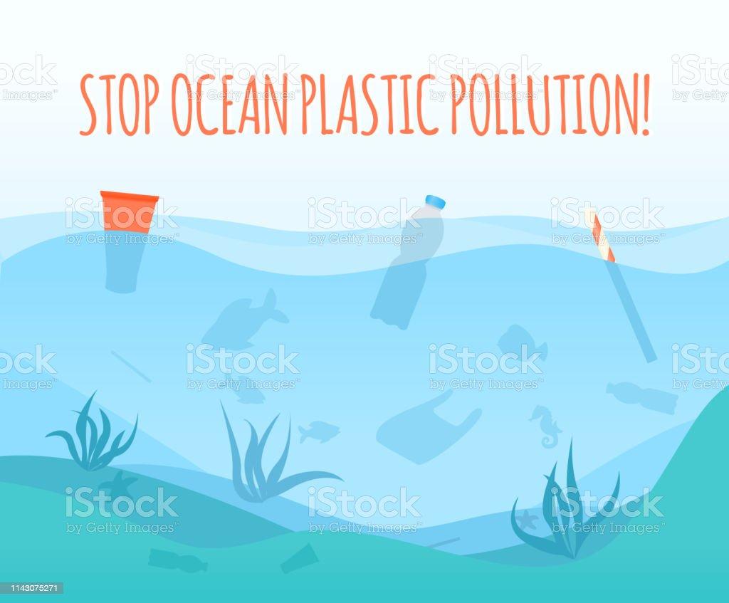 Stop Ocean Plastic Pollution Poster Stock Illustration