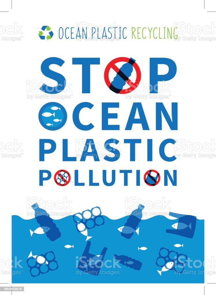 Stop ocean plastic pollution vector illustration vector art illustration