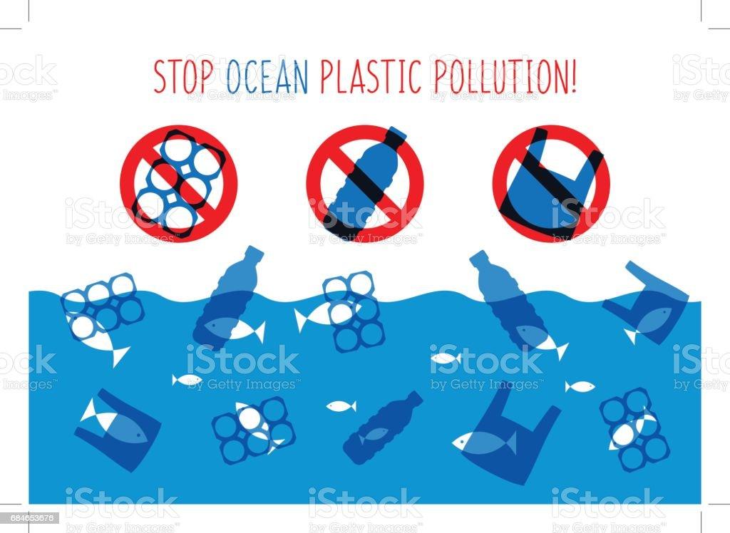 Ilustración de vector de contaminación plástica al mar de parada - ilustración de arte vectorial