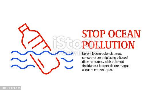istock Stop Ocean Pollution Concept, Vector Line Icon Template Design 1313909933