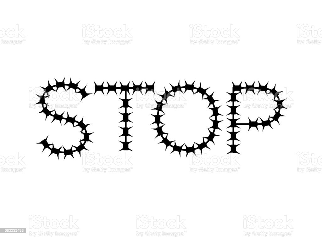 Stop of barbed wire. Letters of fencing royalty-free stop of barbed wire letters of fencing stock vector art & more images of army