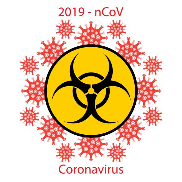 Stop Pandemic Novel Coronavirus Sign and Biohazard Logo on White Background. vector art illustration