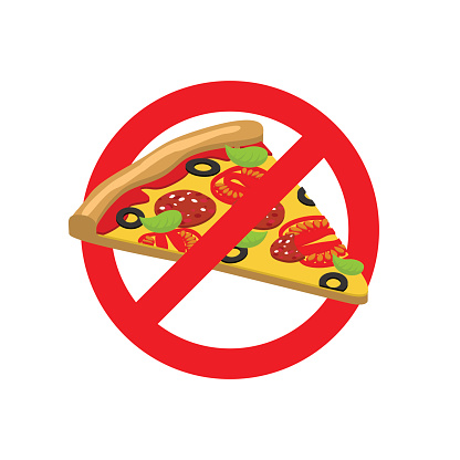 Stop Pizza. Forbidden fast food. Crossed out slice of pizza