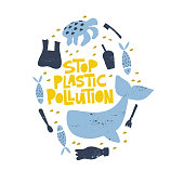 Stop plastic pollution word concept banner