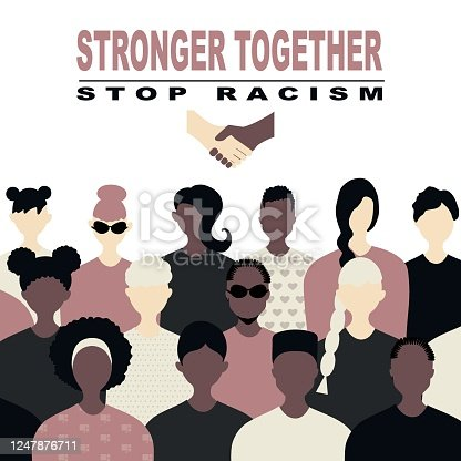 istock Stop racism and stronger together concept. protests, protest,  African Americans and white people against racism, protest banners and posters about Human Right of Black People in US 1247876711