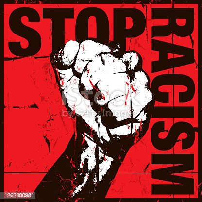 istock Stop Racism Concept with Grunge Fist on Red Background 1262300981