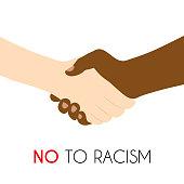 No to racism poster. Discrimination symbol. Handshake icon. Vector illustration