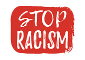 Stop Racism label. Font with Brush. Equal Rights Badges. Vector illustration icon