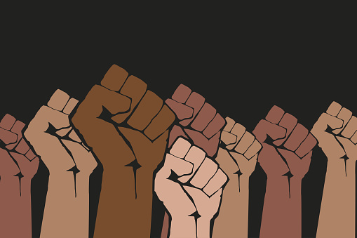 Stop racism. Many multi colored fist protesting on dark background. Different races hands protest, interracial community unity. Modern vector in flat style. New movement