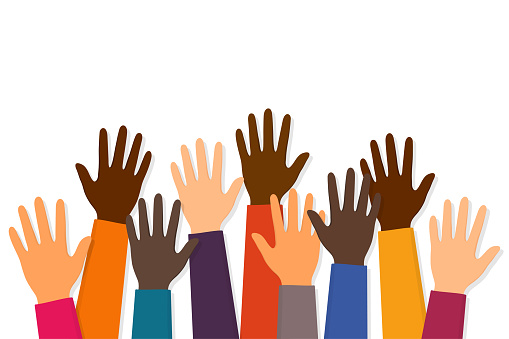 Stop racism. protest. Raised up hands of people with different skin colors. Justice and no racism concept