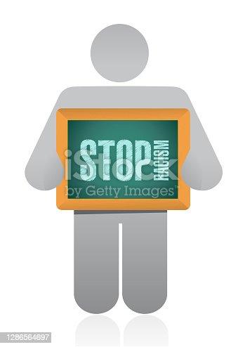 Stop racism sign illustration design over a white background