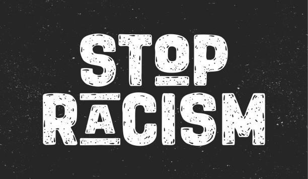 인종차별을 막아라. 항의 행동을 위한 문자 메시지 - 사회 정의 stock illustrations