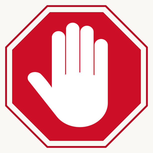 Stop Red octagonal stop-hand sign for prohibited activities vector art illustration