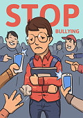 Stop school bullying poster. Phones and fingers pointing at schoolboy surrounded by laughing bullies. Colored flat vector illustration. Vertical