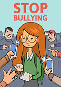 Stop school bullying poster. Phones and fingers pointing at schoolgirl surrounded by laughing bullies. Colored flat vector illustration. Vertical
