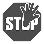 Stop sign and hand solid icon, no drugs concept, ban sign on white background, prohibition sign icon in glyph style for mobile concept and web design. Vector graphics
