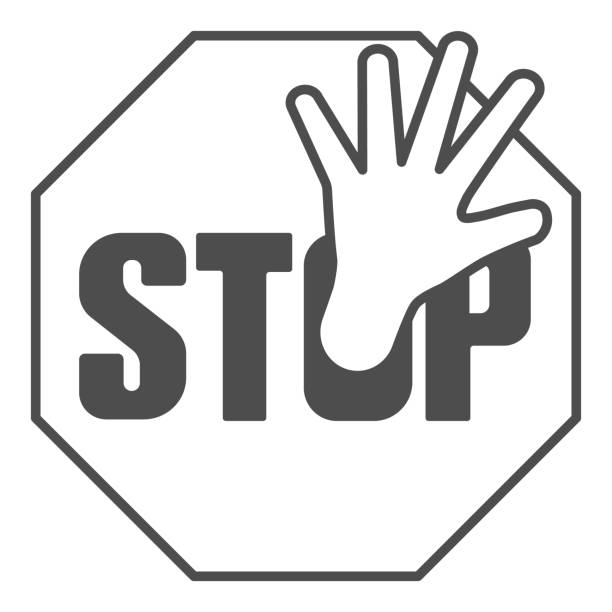 Stop sign and hand thin line icon, no drugs concept, ban sign on white background, prohibition sign icon in outline style for mobile concept and web design. Vector graphics. Stop sign and hand thin line icon, no drugs concept, ban sign on white background, prohibition sign icon in outline style for mobile concept and web design. Vector graphics human limb stock illustrations