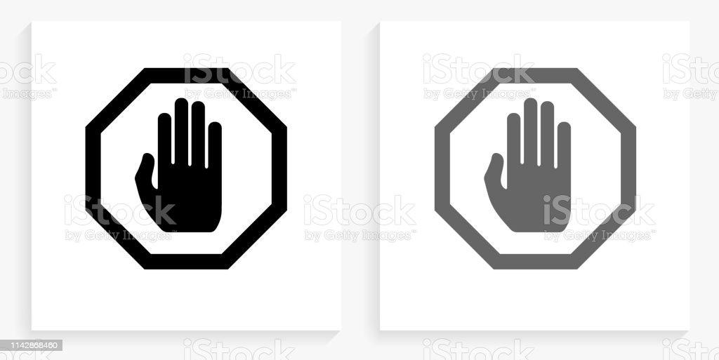 정지 표시 흑백 사각형 아이콘 - 로열티 프리 개념 기호 벡터 아트