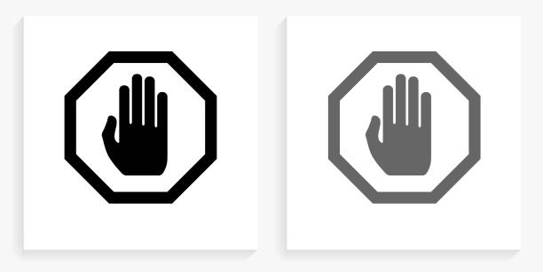 Stop Sign Black and White Square Icon vector art illustration