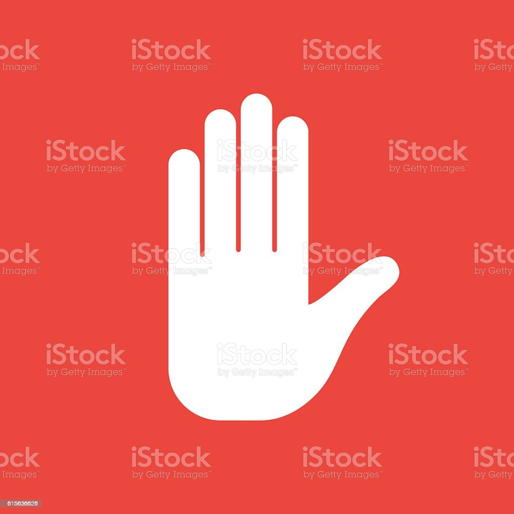Stop sign hand vector art illustration