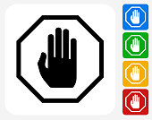 Stop Sign Icon. This 100% royalty free vector illustration features the main icon pictured in black inside a white square. The alternative color options in blue, green, yellow and red are on the right of the icon and are arranged in a vertical column.
