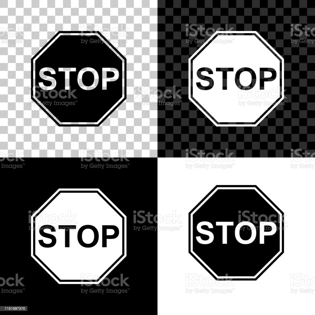 Stop Sign Icon Isolated On Black White And Transparent