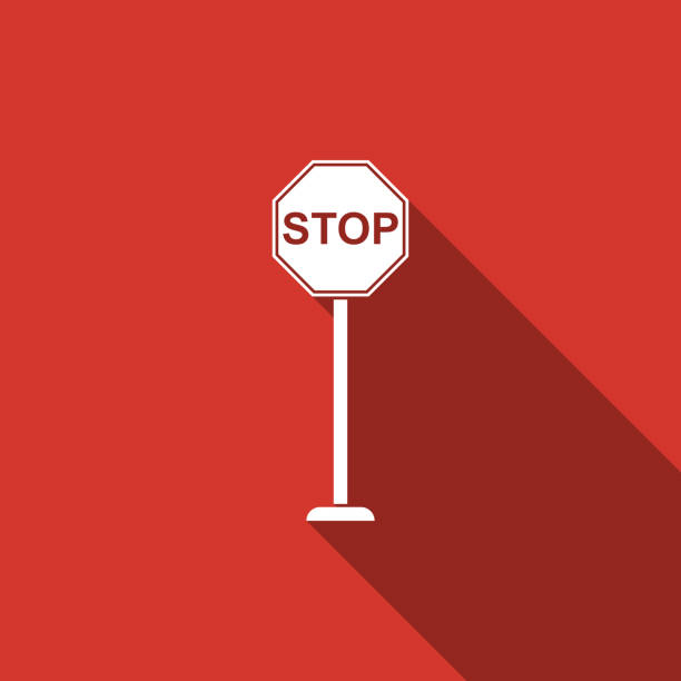 stop sign icon isolated with long shadow. traffic regulatory warning stop symbol. flat design. vector illustration - stop sign stock illustrations