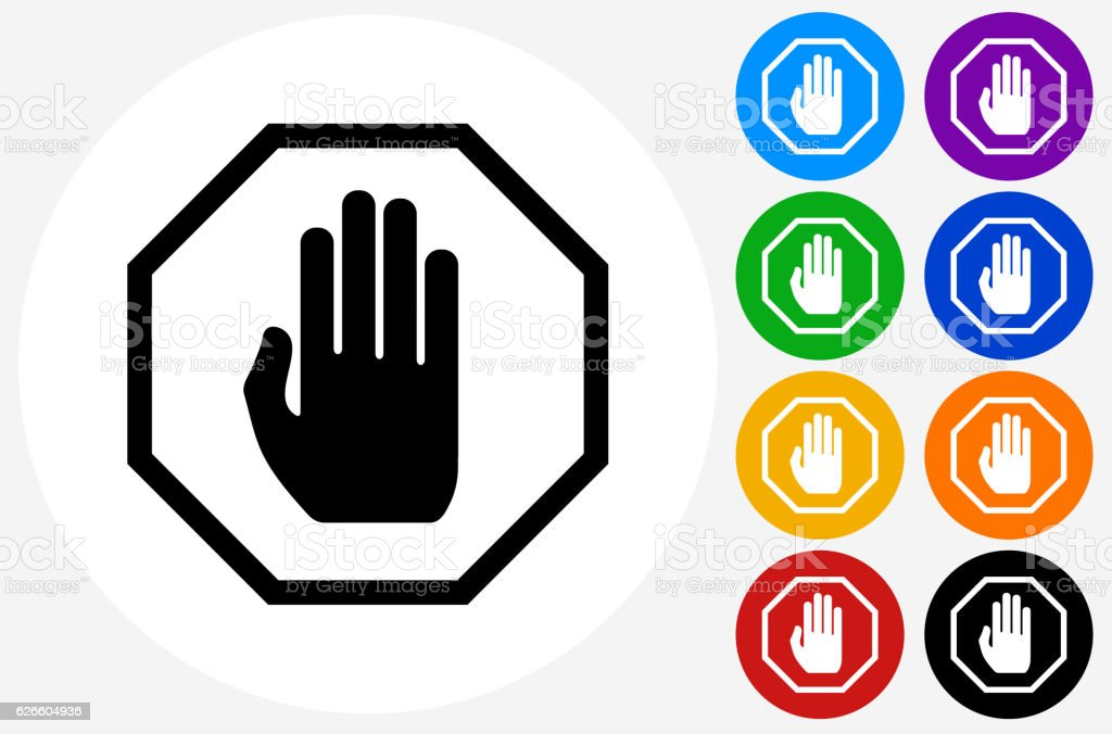 Stop Sign Icon on Flat Color Circle Buttons