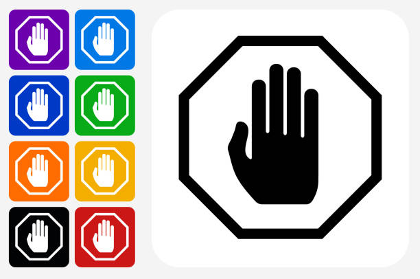 Stop Sign Icon Square Button Set Stop Sign Icon Square Button Set. The icon is in black on a white square with rounded corners. The are eight alternative button options on the left in purple, blue, navy, green, orange, yellow, black and red colors. The icon is in white against these vibrant backgrounds. The illustration is flat and will work well both online and in print. stop stock illustrations