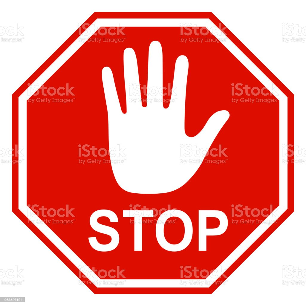 stop sign icon with hand vector stock vector art more images of rh istockphoto com vector stop sign free stop signage vector