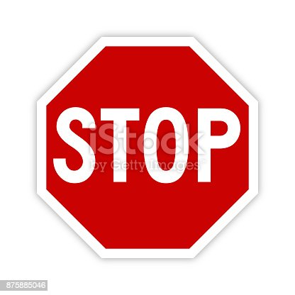 Stop sign icon vector illustration with shadow on white background.